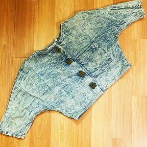Vintage 90s cropped acid wash denim jacket